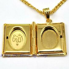 """1.26""""5g ALLAH BOOK CHARM 18K YELLOW GOLD PLATED 23.6"""" NECKLACE GEP PENDANT 1039d"""