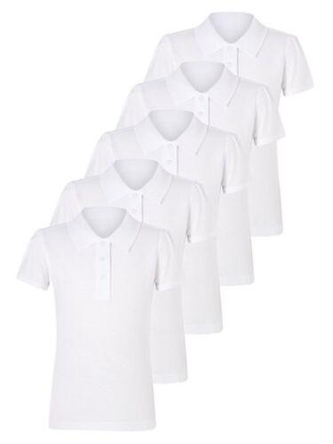 5 Pack Garçons Téflon ™ École Polos blanc-Âge 3 To 16 100/% coton
