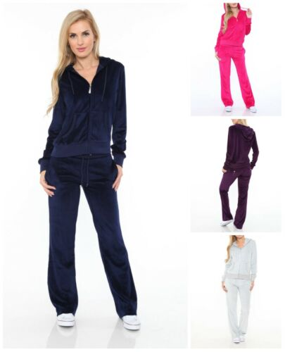 White Mark Classic Casual Sports Athletic Velour 2 Piece Set For Women