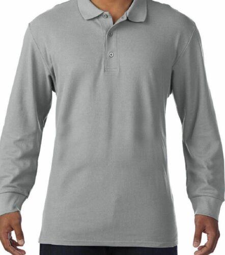 GILDAN MEN/'S PREMIUM LONG SLEEVE SMART CASUAL 100/% SOFT COTTON POLO SHIRT NEW