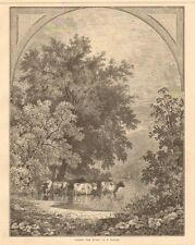 Delaware Water Gap, New Jersey, Pennsylvania, Cattle In Water 1874 Antique Print