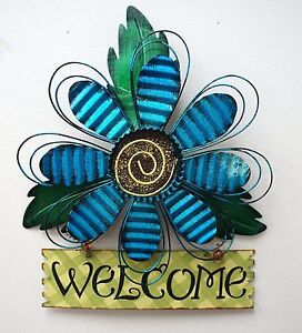 Rustic-Metal-Blue-Flower-Welcome-Wall-Art-Decor-Hanging-Flower-Welcome-Wreath