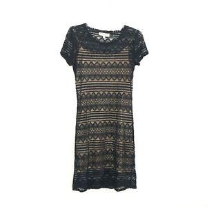 Trina Turk Black Nude Sheer Lace Shift Dress size M Slip