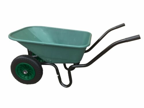 110L TWIN WHEELBARROW WITH PNEUMATIC WHEEL & GREEN PLASTIC BODY WHEEL BARROW