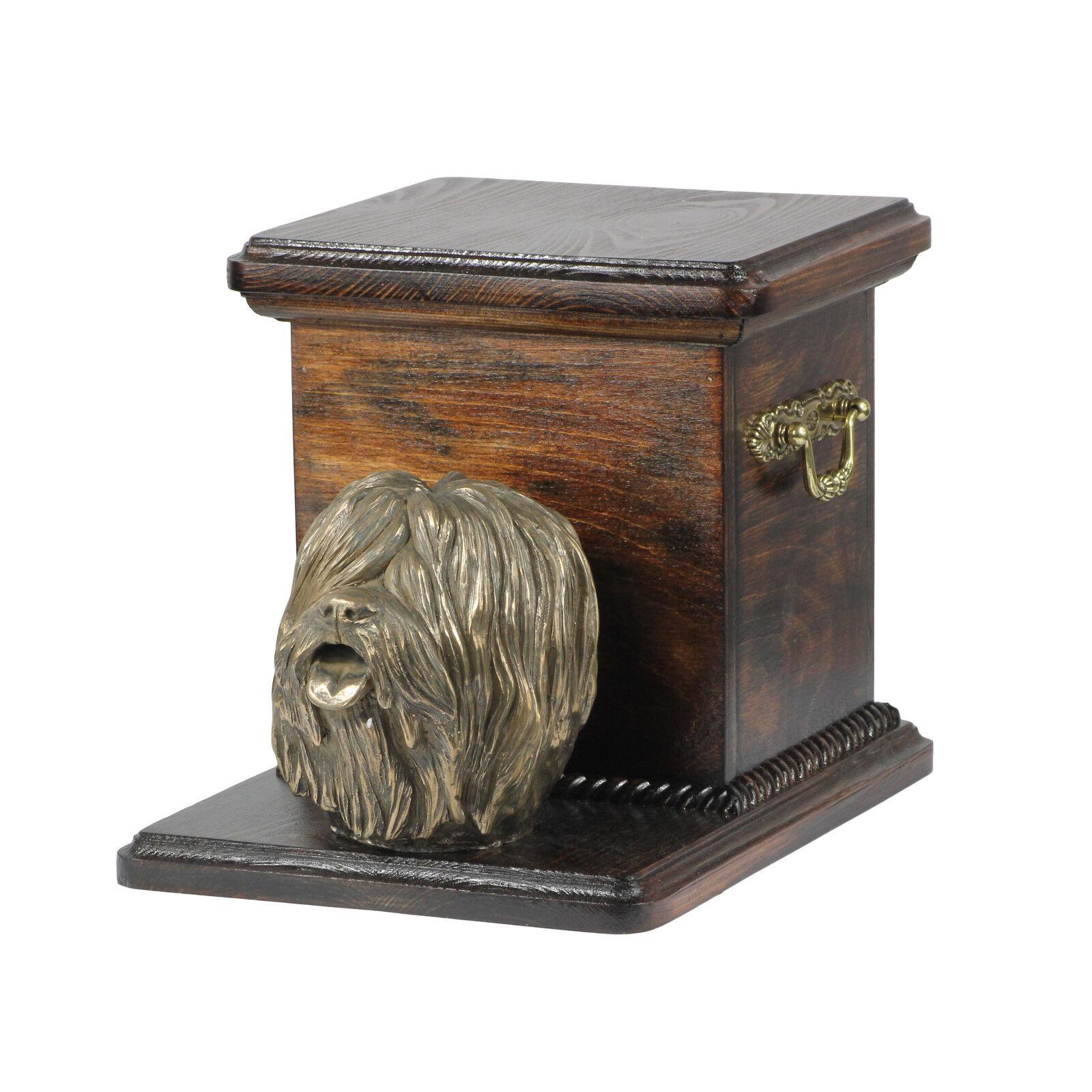 Polish Lowland Sheepdog Cremation Urn for Dog's ashes Dog statue Memorial Casket