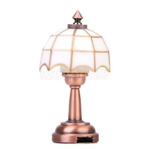 led battery desk lamp light dollhouse miniature lighting white shade. Black Bedroom Furniture Sets. Home Design Ideas