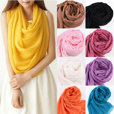 Multifunctional Fashion Large Long Scarves Chiffon Wraps Feel pure Color  Shawls