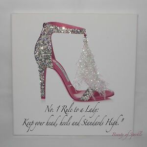 Image is loading Glamour-Sparkle-Glitter-Crystal-Jimmy-SHOE-Lady-Quote- 7640ecb554