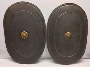 2-Antique-Primitive-Metal-Combat-Shields-Childs-Toys-From-Boiler-Pot-Lid-N5
