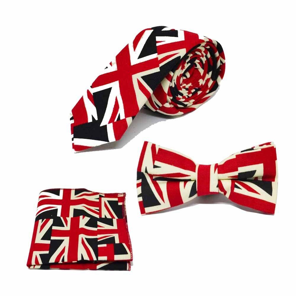 Union Jack Design Fliege, Krawatte & Einstecktuch Satz - Großbritannien Fliege