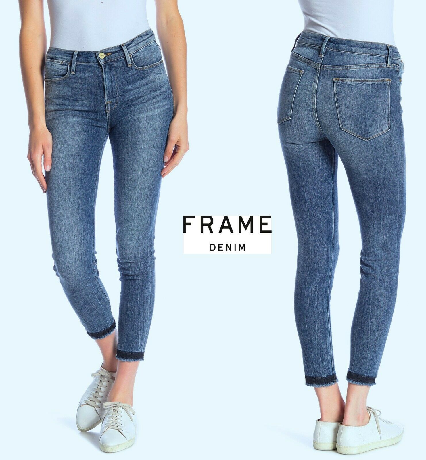 NWT  235 FRAME DENIM LE HIGH SKINNY FRYED HEM LANGSTONE JEANS. SZ 26,27