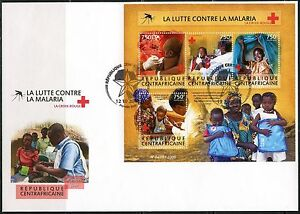 CENTRAL AFRICA 2015 BATTE AGAINST MALARIA RED CROSS SHEET FIRST DAY COVER
