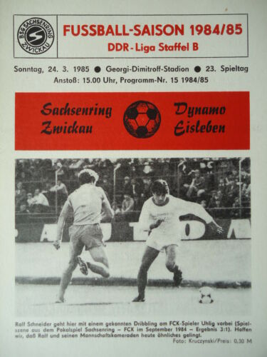 Programm 1984//85 BSG Sachsenring Zwickau Dynamo Eisleben