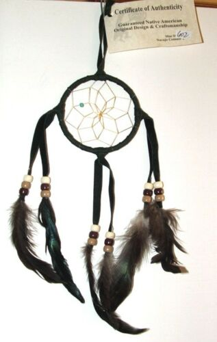 """3/"""" hoop Dreamcatcher Authentic Native American Black FREE SHIPPING #602"""