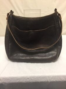 Image Is Loading Vintage Dkny Womens Brown Leather Purse Shoulder Bag