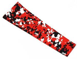 8ed0e56257 Red Black White Camo Compression Arm Sleeve For Baseball Shooting ...