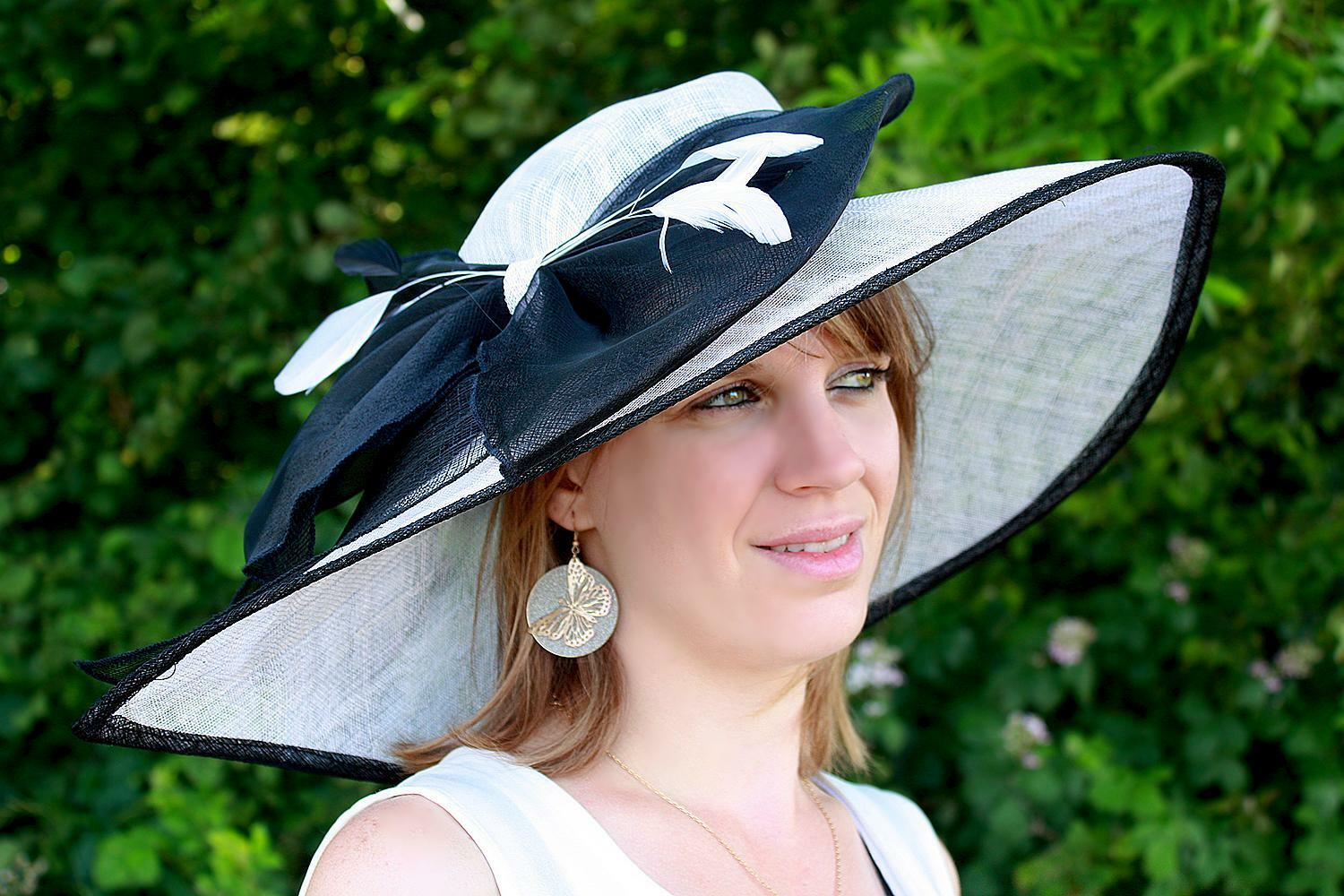 Hat wedding ceremony sisal plume knots (green, pink, ivory,...) new