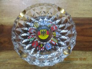 VINTAGE-WEST-GERMAN-COAT-OF-ARMS-CITIES-GLASS-ASHTRAY