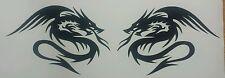 Twin Chinese Dragons Tribal - Black Vinyl Cut Car Decal sticker, Wall Art laptop