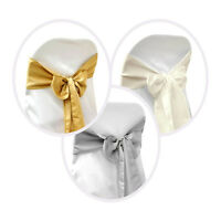 150pcs Satin Chair Cover Sash Bows Ties Wedding Party Decorations