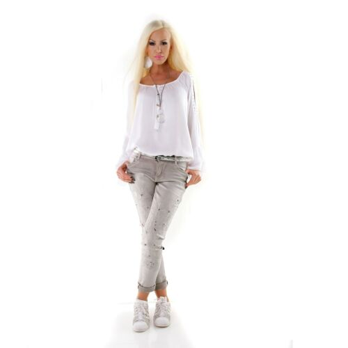 Women/'s skinny light Grey Jeans with embroidered legs and studs UK 8-16