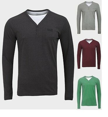 """""""jean Pascale"""" Mens Long Sleeves T-shirts Soft Cotton Y-neckline Mock Layer Top"""