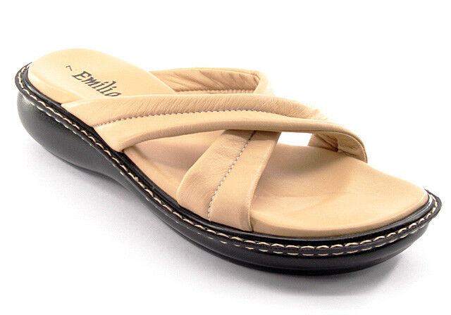 New EMILIA ROMANA Women Beige Leather Flat Slip On Slide Sandal shoes Sz 7 M