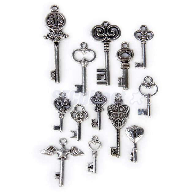 13 Antique Tibetan Silver Key Charm Pendants Assorted Style DIY Jewelry Findings