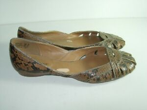 WOMENS-BROWN-FAUX-SNAKE-BALLET-FLATS-CASUAL-COMFORT-CAREER-HEELS-SHOES-SIZE-10-M