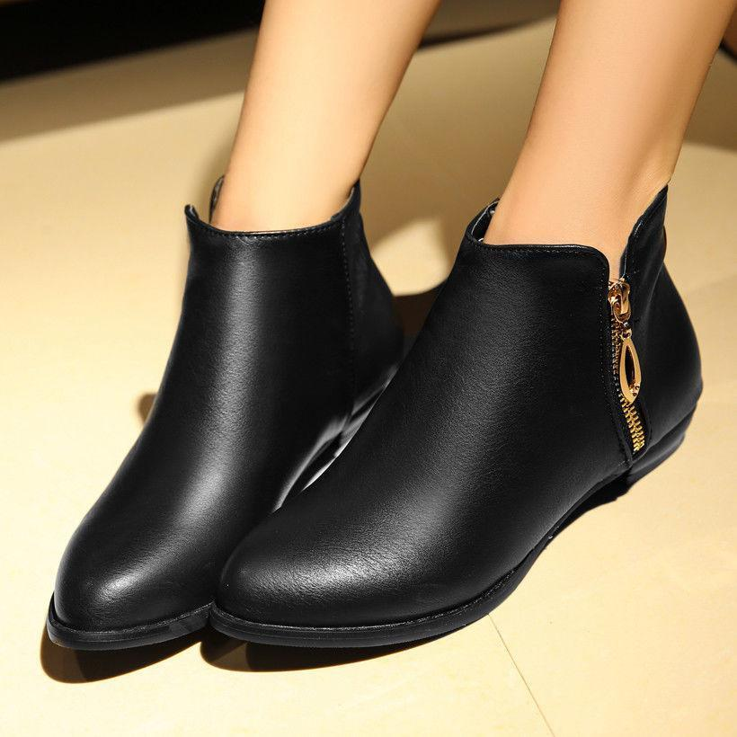 Womens Casual Ankle Boots Pu Leather Pointy Toe Side Zip Flats Chelsea shoes new