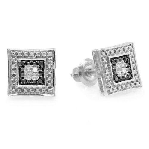 0.05 CT Sterling Silver White /& Black Diamond Micro Pave Kite Shape Stud Earring