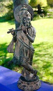 Vintage-Krishna-Bronze-Statue-lost-wax-cast-Sculpture-Handmade-Balinese-Art