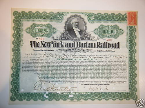 New York and Harlem Railroad $10,000 1900 Gold Bond