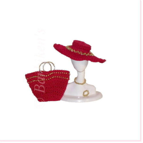 BARBIE SILKSTONE FR TRESSY FASHION DOLL BEAD HAT TOTE ACCESSORY SET RED//GOLD NEW