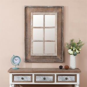 Details About Luxen Home Rectangular Wood Window Frame Decorative Mirror In Natural