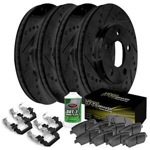 Black Hart *DRILLED /& SLOTTED* Brake Rotors Ceramic Pads C1304 FRONT+REAR KIT