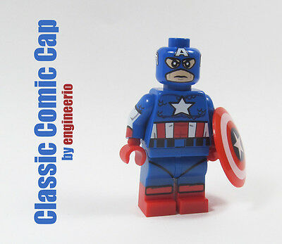 Captain America Light Blue Suit Marvel Comics Lego Moc Minifigure