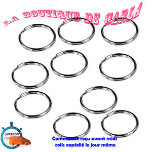 5 ANNEAUX BRISES PORTE-CLE chaine métal argenté 25mm