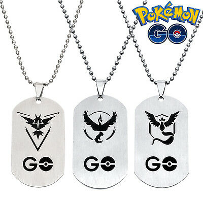 87e1e53c3e304 Hot Pokemon Go Team Mystic Instinct Valor Chain Necklace Pendant Dog Tag  Gift | eBay