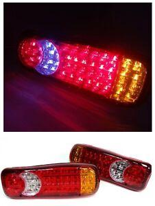 2x-Feux-Arriere-12V-46-LED-Lampes-Stop-REMORQUE-CAMION-FOURGON-CARAVANE