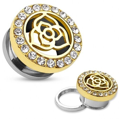 Ohr Plug Tunnel Vintage Rose Edelstahl Gold IP mit Kristallen