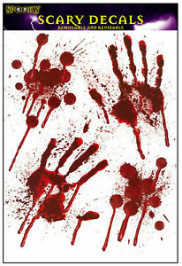 Details about BLOODY HANDPRINT STICKERS Halloween Blood Decoration Hand  Prints Party Window🩸