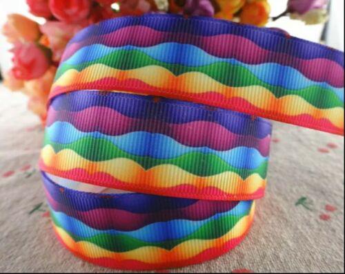 "Pastel de cumpleaños de arco de pelo Rainbow olas de Cinta de Grogrén 1m X 22mm Ancho 7//8/"""