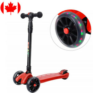 PHAT® Foldable Kids S3 4-Adjustable Height Glider Ride 3 Wheel Kick Scooters Red