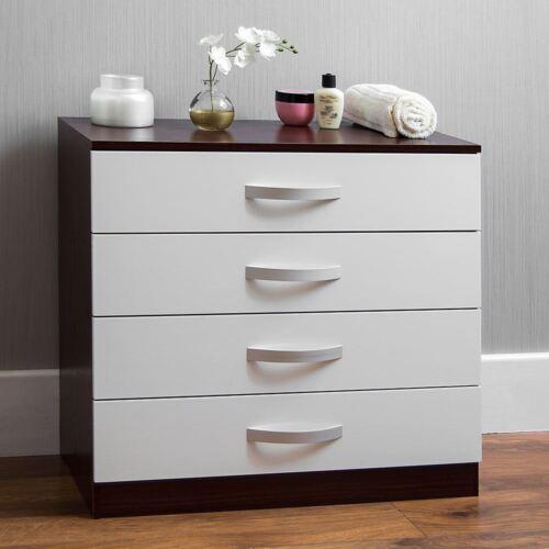 Hulio Brillant Commode Blanc noyer 4 tiroirs meubles de chambre NEUF