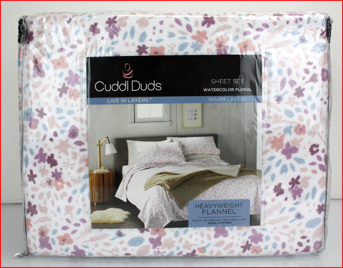 Cuddl Duds Heavy Weight 100% Cotton FLANNEL Sheet Set - Pastel Floral Flowers