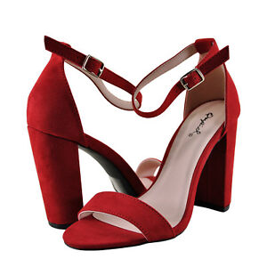 4a481358304 Women s Shoes Qupid Cashmere 01 Open Toe Ankle Strap Heel Red Suede ...
