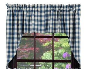Details about country cabin farmhouse kitchen Picnic Blue & white plaid  pattern Swags curtains