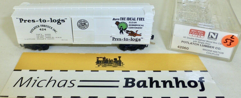 Micro Trains 42060 Potlatch Forests 424 40' Sheathed Wood Boxcar N 1 160 L Å