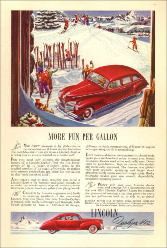 1941 Classic Car AD 1941 LINCOLN Zephyr V12 red car in snow Nice! 042517